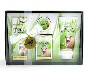 Wild Ferns Lanolin Gift Box - Moisturising Facial Lotion, Soap, Lip Balm, Hand & Nail Crème