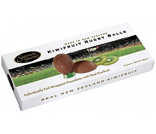 Supremely Gourmet Kiwifruit Chocolate Rugby Balls